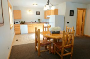 Kitchen and diningroom table with seating for four