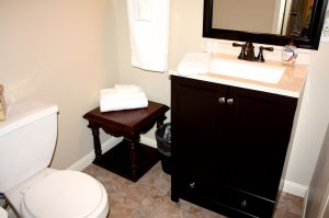 toilet, sink and corner table