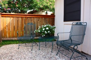wire chairs and flower