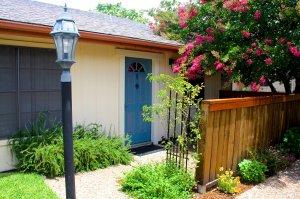 lamp post, blue door and patio