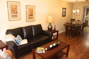 leather couch and coffee table