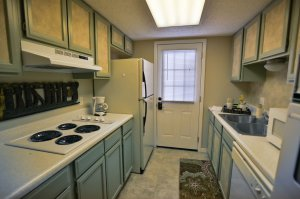 kitchen with cool-colored cupboards