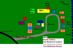 Map of Three Oaks Resort