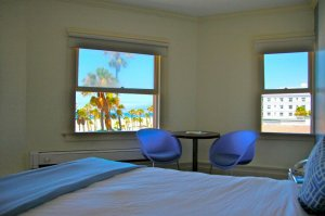 bed and open beach view