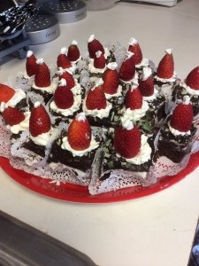 brownies with strawberry santa hats