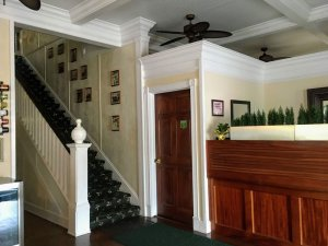 stairway and front desk