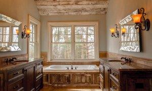 A bathtub near a window
