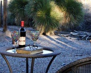 Bottle of Wine on Patio Table