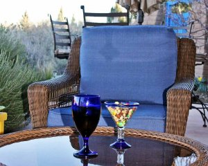 Patio Chair with Glasses on Table