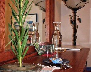 Plant and Glasses on Dresser