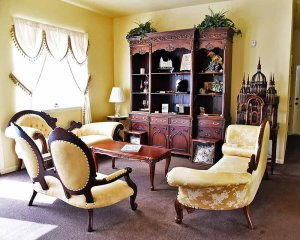 Family Room with Yellow Furniture