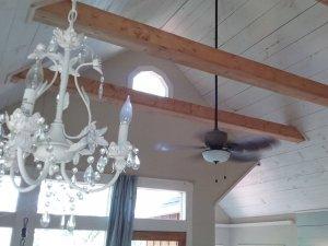chandelier and ceiling fan