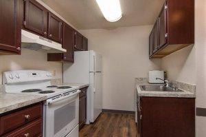 kitchen cabinets in dark stain