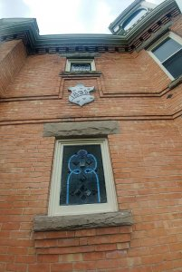 hhistoric windows on brick biulding