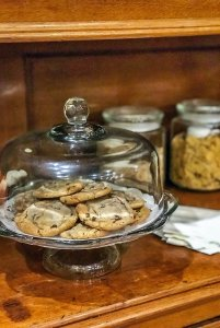 freshly made cookies in glass container