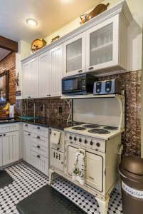 historic stove with modern appliances