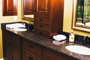 Bathroom Counter with Two Sinks