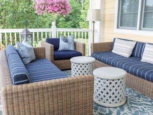 Wicker furniture on porch