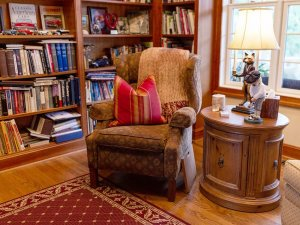 Reading chair next to bookshelf