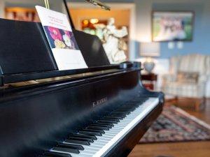 Keys on piano in living room