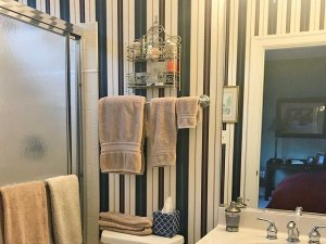 Towels on a rack in the bathroom