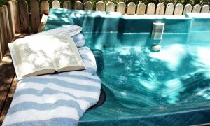 book next to jacuzzi