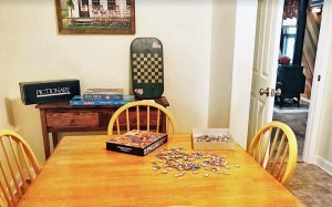 Jigsaw puzzle pieces on a table