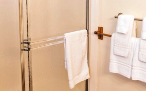 Towels near a shower door