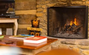A coffee table near a fireplace and carved bear