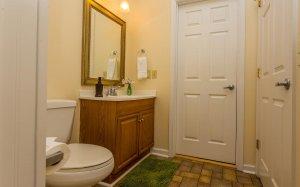 Bathroom view from shower towards door