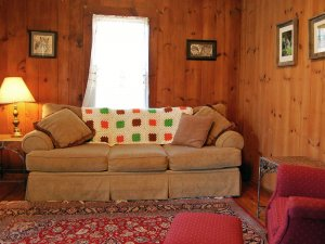 A couch in a log cabin