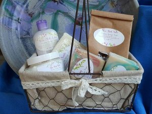 A basket of soaps and bath salts
