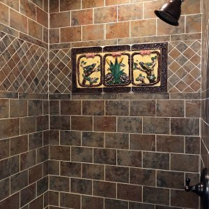 Brick wall shower