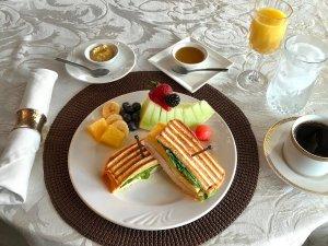 Panini sandwich and fruit