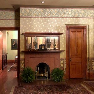 Fireplace and mantle in living room