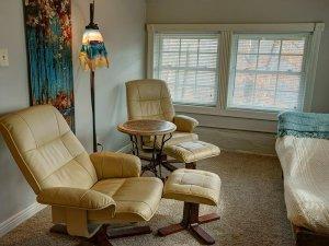 Lamp between seats in sitting area