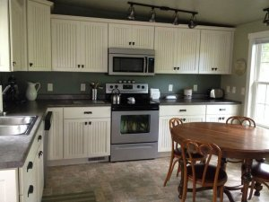 Cabinets above countertop in kitchen