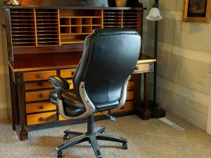 Office chair at large desk