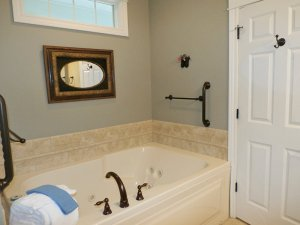 Bathtub and folded towels