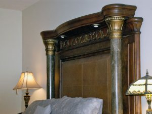 Large headboard above bed