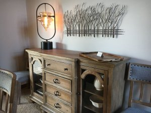 Old wooden cabinet with lamp