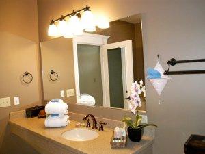 Mirror in bathroom above sink