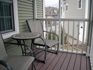 Two chairs and table on patio