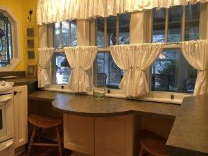 Counter surface below windows in kitchen