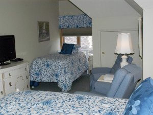 Queen bed, twin bed, couch, lamp, and television in room with vaulted ceiling