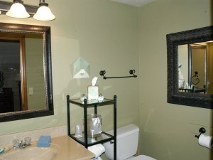 Mirror, sink, shelves, and toilet in bathroom