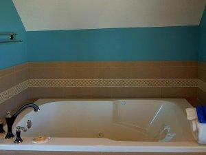 Bathtub under vaulted ceiling in bathroom