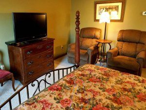 Chairs next to dresser and television at end of bed