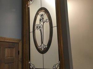Decorative glass and wood door