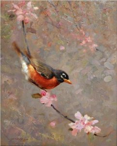 robbin on a blossoming branch